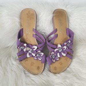 Brida | Lavender Purple Floral Slide Sandals Strap